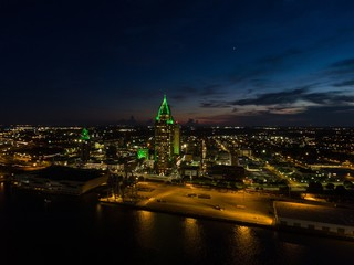 Downtown Mobile, Alabama Cityscape & skyline at night