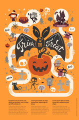 Happy Halloween flyer template in a flat style with funny and spooky cartoon characters and place for text. Vector illustration for festive party invitation, greeting card, announcement banner.