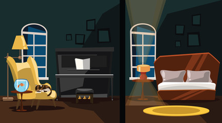 bedroom and living room vector illustration