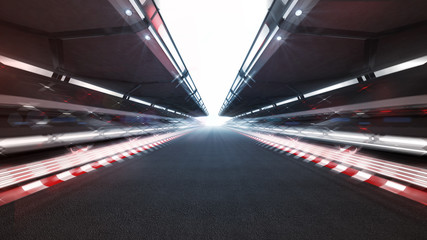 Stores à enrouleur Motorise illuminated race track with shiny lights and motion blur