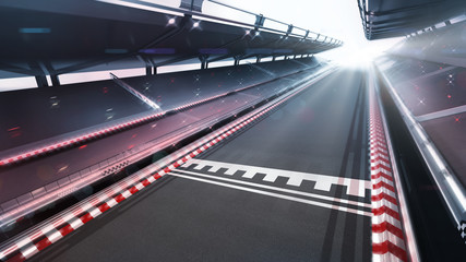 Door stickers Motor sports race track finish area with motion blur and shiny lights