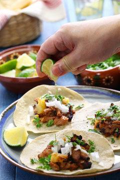 tacos al pastor, mexican food, squeeze a lime