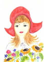 Drawing with watercolors: portrait of a girl in a red cap.