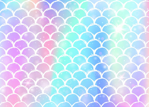 Rainbow scales background with kawaii mermaid princess pattern. Fish tail banner with magic sparkles and stars. Sea fantasy invitation for girlie party. Multicolor backdrop with rainbow scales.