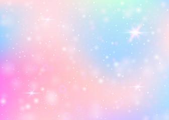 Holographic background with rainbow mesh. Colorful universe banner in princess colors. Fantasy gradient backdrop with hologram. Holographic unicorn background with fairy sparkles, stars and blurs.