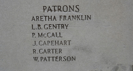 Singer Aretha Franklin's name is seen as a Patron on the wall of the New Bethel Baptist Church in Detroit