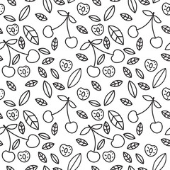 Cherry seamless pattern. Hand drawn fresh berry. Vector sketch background. Doodle wallpaper. Black and white print