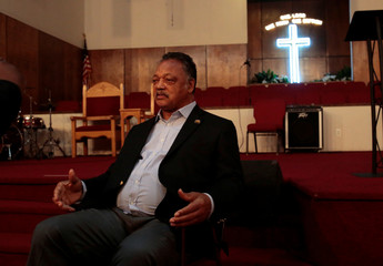 Reverend Jesse Jackson talks about singer Aretha Franklin in the chapel of the New Bethel Baptist Church in Detroit