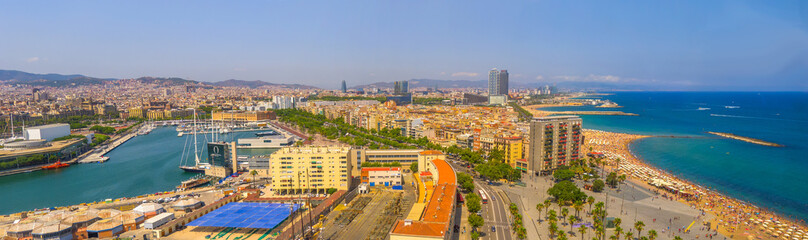 Panorama of Barcelona – beautiful air view of the beaches, Central area (Catalonia, Spain)