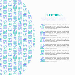 Election and voring concept with thin line icons: voters, ballot box, inaguration, corruption, debate, president, propaganda, bribe, agitation. Modern vector illustration, print media template.