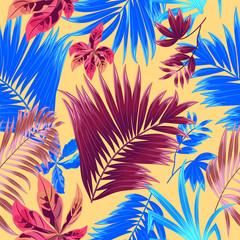 Tropical jungle palm leaves seamless pattern