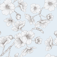 Seamless pattern, background with blooming cherry japanese sakura in vintage blue and beige colors. Stock vector illustration.