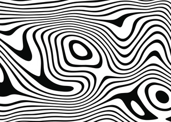 abstract background of white and black lines. Distorted Lines