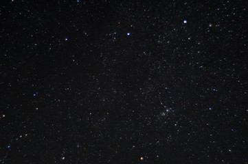 Long exposure night photo. A lot of stars with constellations. Far from the city. Night landscape.