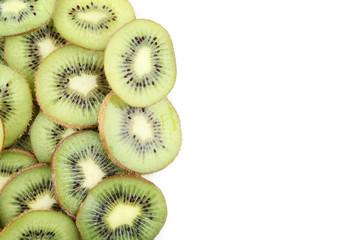 Sliced kiwi fruits on white background