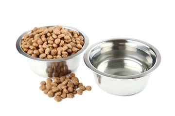 Cat food and water in bowls isolated on white background