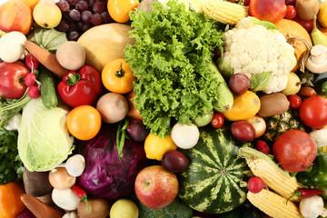 Keuken foto achterwand Keuken Ripe fruits and vegetables background