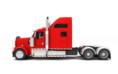 Logistics concept. American red Freightliner cargo truck without a container moving from right to left isolated on white background. Right side view. 3D illustration