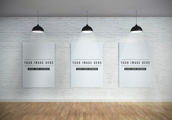 Three Vertical Canvases on Wall Mockup