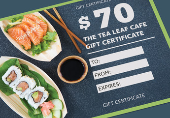 Gift Certificate Layout with Green Border