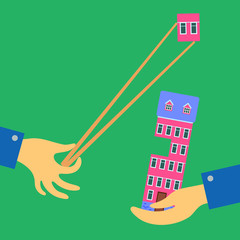 Vector real estate market concept. Hands holding sticks for sushi with a piece of housing from a multi-storey building