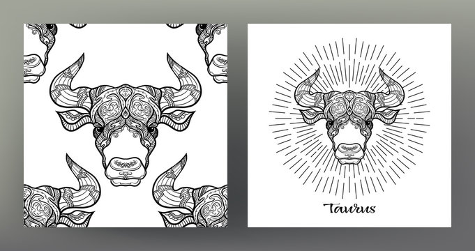 Taurus,bull,. Set of Zodiac sign illustration on the sacred geometry symbol pattern and  seamless pattern with this sign. Black-and-white graphics. Stock vectorillustration.