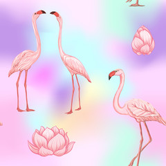 Seamless pattern, background. with pink flamingos and feathers on In light ultra violet pastel colors on mesh pink, blue background. Stock vector illustration.