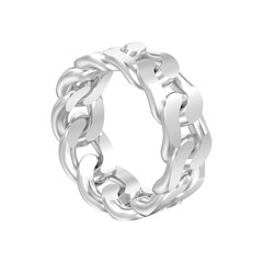 3D illustration isolated white gold or silver decorative chain ring