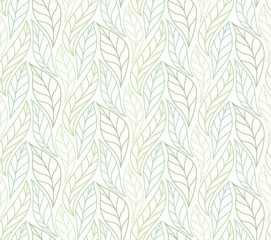 Decorative Green Leaves Seamless Pattern. Continuous leaf background. Floral Texture.
