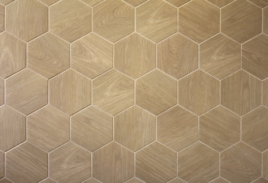 Brown floor hexagon tile with texture of a tree