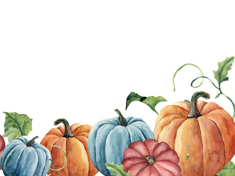 Watercolor bright pumpkin and leaves card. Hand painted autumn pumpkin ornament with branch isolated on white background. Botanical illustration for design and fabric, halloween.