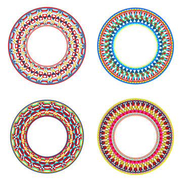 African Maasai beads necklace design vector illustrations.