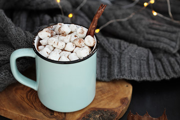 Hot Cocoa with Marshmallows and Cinnamon Stick