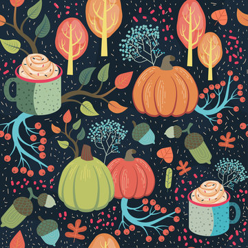 Beautiful whimsical autumn seamless pattern.