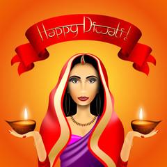 Happy Diwali card, indian woman wearing saree, candles