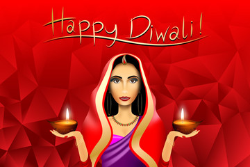 Happy Diwali card, indian woman wearing saree, candles