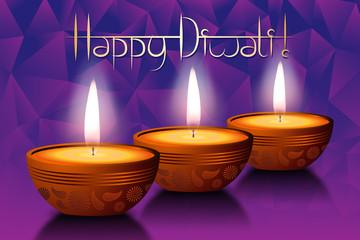 Happy Diwali card, three candles