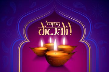 Happy Diwali card, four candles
