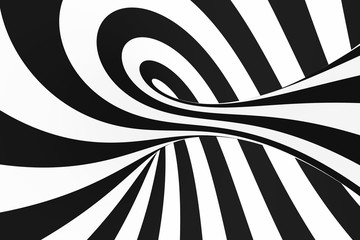Black and white spiral tunnel. Striped twisted hypnotic optical illusion. Abstract background.