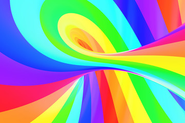 Rainbow funny spiral tunnel. Striped twisted cheerful optical illusion. Abstract background.
