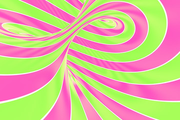 Christmas festive pink and green spiral tunnel. Striped twisted lollipop optical illusion. Abstract background.