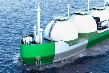 Nigerian gas tanker sailing in ocean, 3D rendering