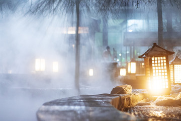hot springs outdoor in jilin at night