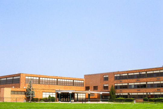 View of typical American school building exterior