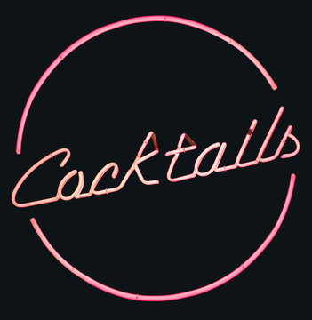 Retro Pink Neon Cocktails Sign