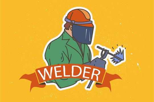welder, man in mask and uniform.