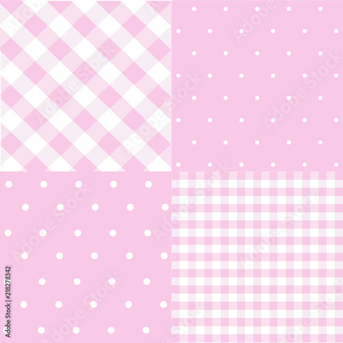 Seamless Patterns For Baby Girl Shower Party Set Of Cute Pink