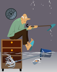 Elderly man sitting in a flooded house with a leaky roof, EPS 8 vector illustration