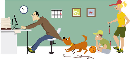 Overworking man trying to keep working at home on Saturday while his family waiting for him to go for a walk, EPS 8 vector illustration