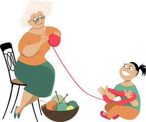 Little girl helps a senior woman to untangle a skein of yarn, EPS 8 vector illustration